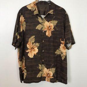 Tommy Bahama Hawaiian 100% Silk Button Front Shirt